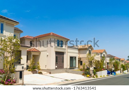 Image of a residential area in Japan, clear sky, blue sky ストックフォト ©