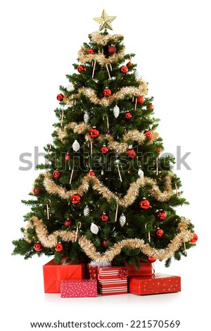 16 image series of an artificial Christmas Tree being put together, including gifts. #221570569