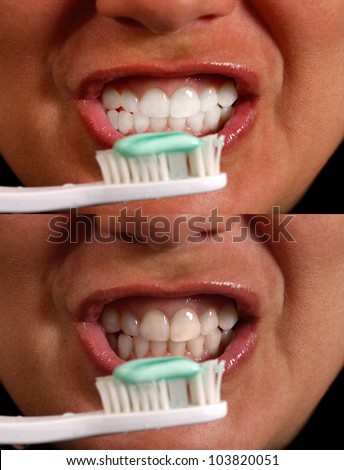 2 Images of a woman before and after brushing her teeth