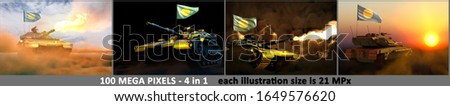 4 images of highly detailed tank with not existing design and with Palau flag - Palau army concept with place for your content, military 3D Illustration