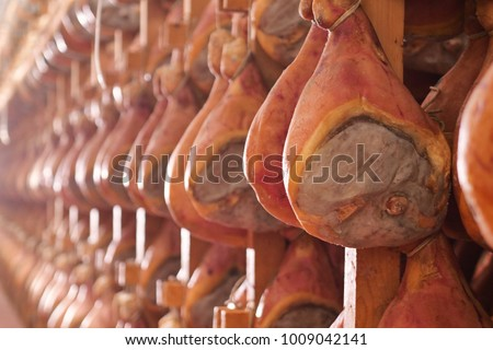 Shutterstock  In a ham factory there are hams hung to season after having undergone the various processes according to the ancient Italian tradition. Concept of: tradition, italy, food