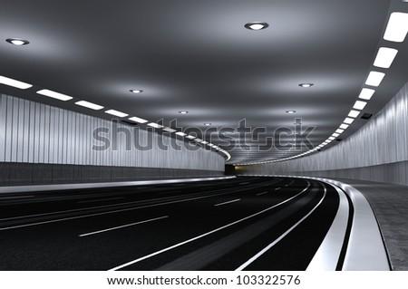 in an underground tunnel