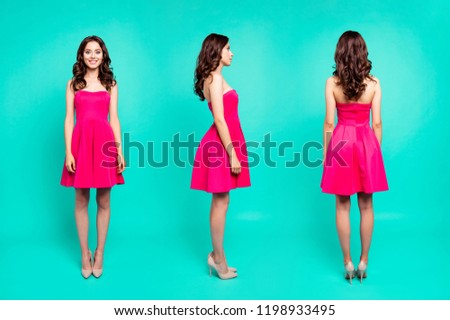 3 in 1 collage full length, legs, body, size all sides portrait of attractive, curly, dreamy brunette lady in dress and high heels shoes, standing straight isolated on vivid turquoise background