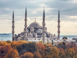 in fall The Sultan Ahmet Mosque (Blue Mosque) - a historic mosque in Istanbul, Turkey.
