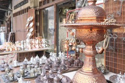 In front of the traditional coppersmith shop. Gaziantep,Turkey