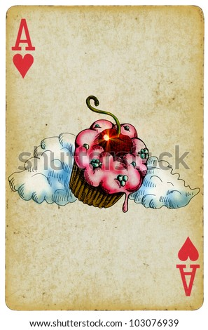 """""""In our bakery you will find only the best products!"""" (vintage processing). A collection of cakes on the card """"Ace of Heart"""". Hand colored drawing - black line technical marker, paints digitally."""