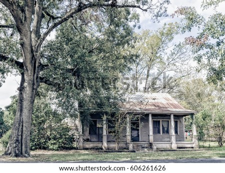 In the town of Donaldsonville, LA you can find these cottages that have metal roofs. Some are doubles. Some are abandoned. They are all in a historic part of town.