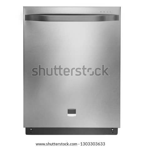 24 Inch Fully Integrated Dishwasher Machine Isolated on White Background. Front View of Modern Stainless Steel Built-In Dishwasher Range. Domestic and Kitchen Appliances