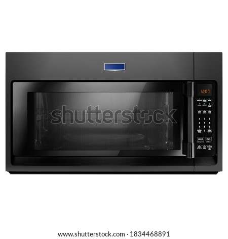 30 Inch Over-the-Range Microwave Oven Isolated on White. Black Stainless Steel 1000 Watts 2.0 Cu. Ft. Countertop Microwave. Kitchen Small Appliance. Home Innovation. Household Domestic Appliances