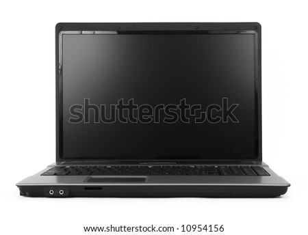 17 inch wide notebook against white background, natural shadow in front, focus set on the screen