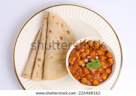 Indian Chana Masala and Chapathi,Homemade fresh wheat ,Homemade fresh Hot Chapati .