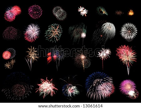 """25 individual fireworks explosions on black background.   Using """"Blending Modes"""" in Photoshop you can cut & paste these right on top of each other w/o the black overlapping!"" - stock photo"