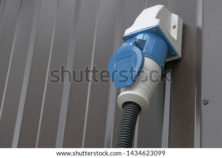 industrial plug (male) connect to socket (female) ,safe electrical supply, electrical connection of high power.