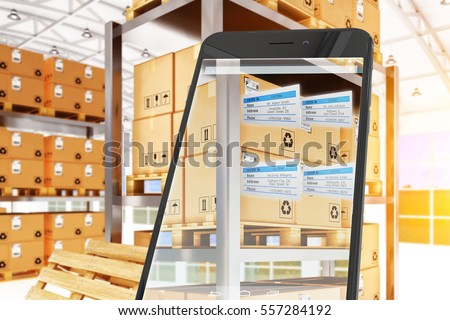 Industry 4.0, warehouse logistics, packages dispatching and delivery concept, mobile phone with augmented reality showing the orders labels on cardboard boxes at racks in storage, 3d illustration