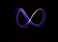 Infinity sign, drawing by light, photo.