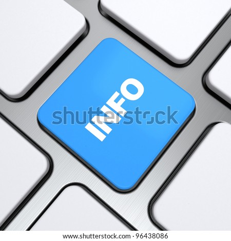 """Info"" text on a button keyboard, 3d render"
