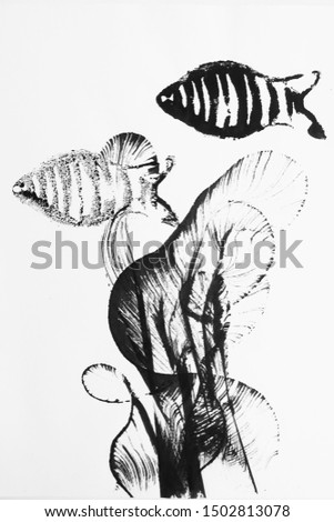 ink illustration. ink fish. ink and thread.