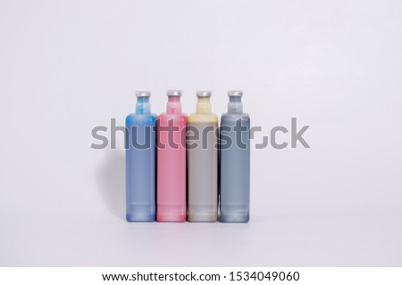 INKS FOR PRINTING PROCESSES,   INK BOTTLE IN WHITE BACKGROUND