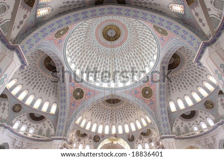 Inside of Kocatepe Mosque in Ankara  - Domes detail