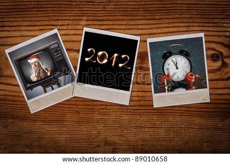 instant photos with new year pictures  on antique backdrop