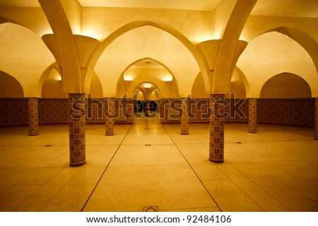 Interior arches and mosaic tile work of hammam turkish bath in Hassan II Mosque in Casablanca, Morocco.