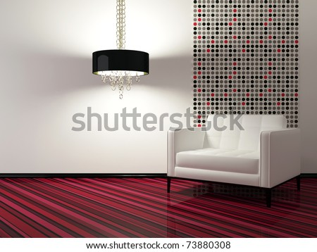 interior design of modern living room with white armchair, 3d render