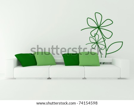 interior design of modern white living room with big white sofa and green pillows, 3d render
