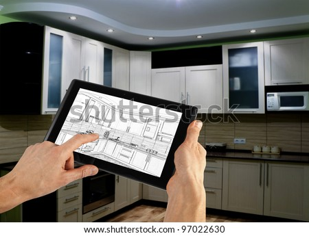 interior layout plan on tablet computer