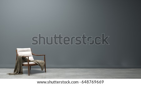 Interior modern living - Grey wall with white chair on concrete floor/ 3d rendering