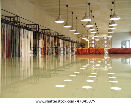 interior of a shop in perspective with reflection