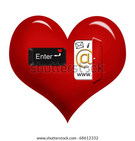 "internet icons in opened door and "" enter""  key on red heart as e-love concept isolated on white"
