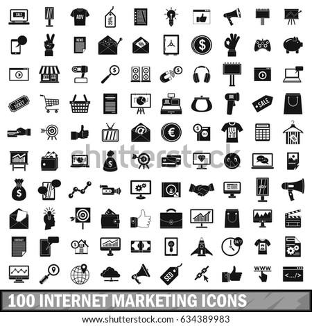 100 internet marketing icons set in simple style for any design  illustration