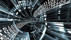 Interplay of numbers and dynamic abstract lines on the subject of digital technology.