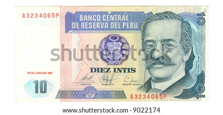 10 inti bill of Peru, blue pattern, azure portrait