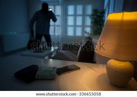 intrusion of a burglar in a house inhabited Stockfoto ©