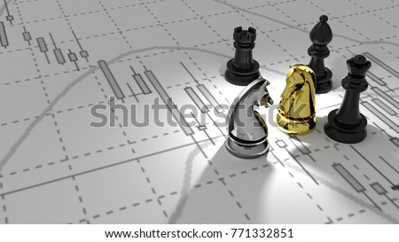 investor chess horse golden and silver 3D illustration candlestick graph stock market gold stock exchange graph and financial money background investment and money chart indicator copy space minimal