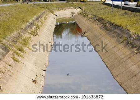 Irrigation canal in summer
