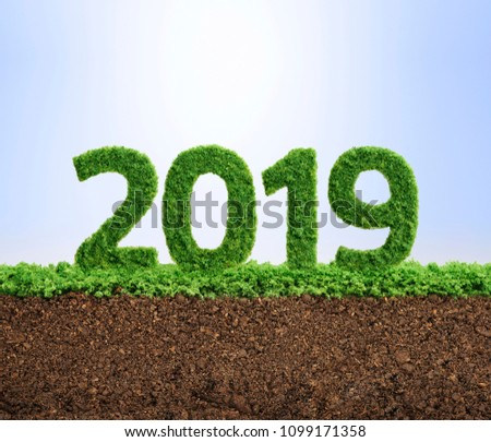 2019 is a good year for growth in environmental business. Grass growing in the shape of year 2019. #1099171358