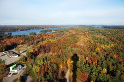 1000 Islands, Saint Lawrence Islands National Park viewd from Sky deck on Hill Island in Thousand Islands region in fall, on the border of Canada and USA