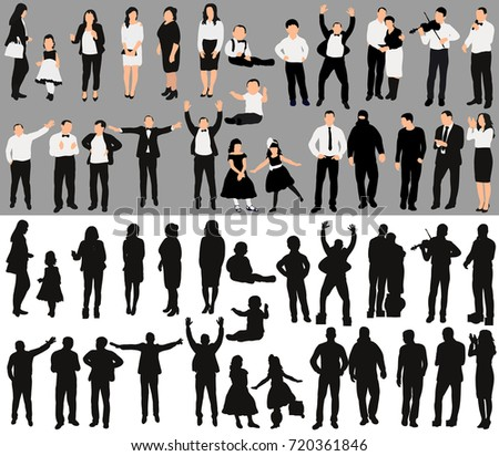 isolated, a collection of people silhouettes