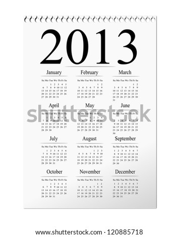 2012 isolated calendar illustration.