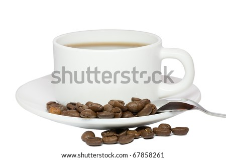 isolated coffee cup and beans