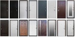 Isolated Door in different colors and metallic door handles. White,grey, black, brown, with mirror. opens left, right. Set of entrance metal doors.