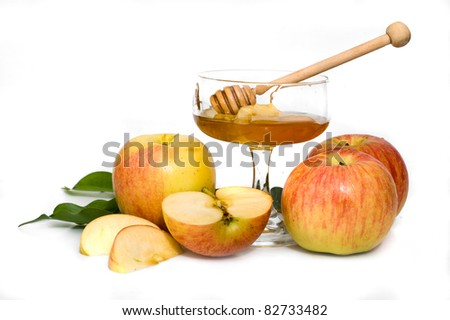 isolated honey with apple for Rosh Hashanah – jewish new year