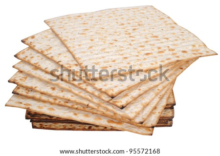 isolated matzot bread for passover celebration - stock photo