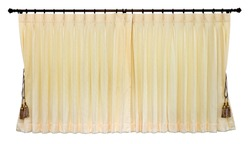 Isolated of yellow curtain was closed, which hung on the wall bars stainless white gracefully