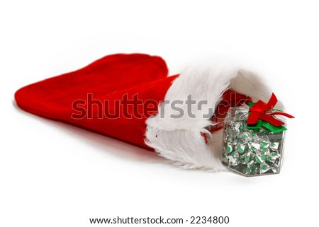 isolated red and white christmas stocking