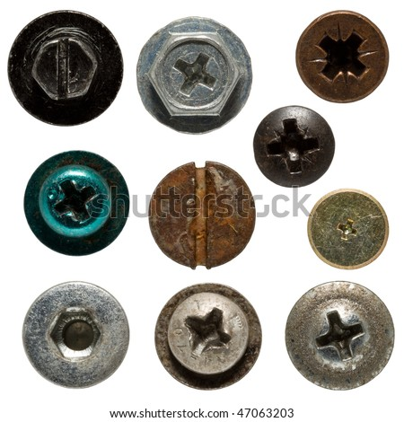 Isolated wood screws on white background, screw heads are very detailed.