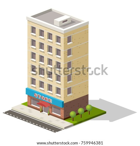 isometric icon representing store or shopping center building with trees nearby.