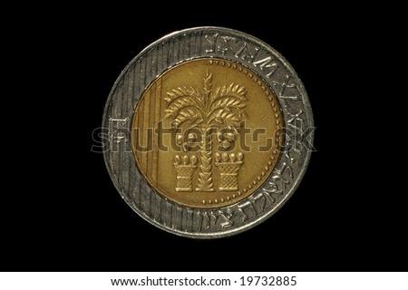 Israeli coins- 10 Shekels isolated on black